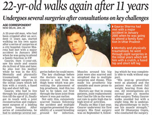 Asian Age_22 year old walks after 11 years_New Delhi_Pg 14_21 Jan