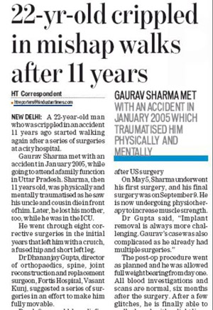 Hindustan Times_22 year old crippled walks after 11 years_New Delhi_Pg 5_21 Jan