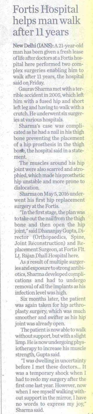 The Times of India_Fortis Helps man walk after 11 years_Hyderabad_Pg 11_21 Jan