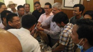Dr. Dhananjay Gupta explaining the bone models